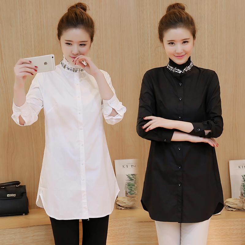 女装胖MM长袖修身显瘦订珠镶钻衬衣纯棉中长款白衬衫