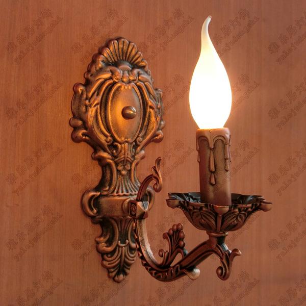 歐式複古 客廳臥室床頭燈 鏡前燈浴室玄關 鐵藝壁燈 單頭蠟燭壁燈   歐式複古 客廳臥室床頭燈