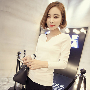 921#秋季新款条纹v领大码女装长袖打底衫T恤韩版女士上衣