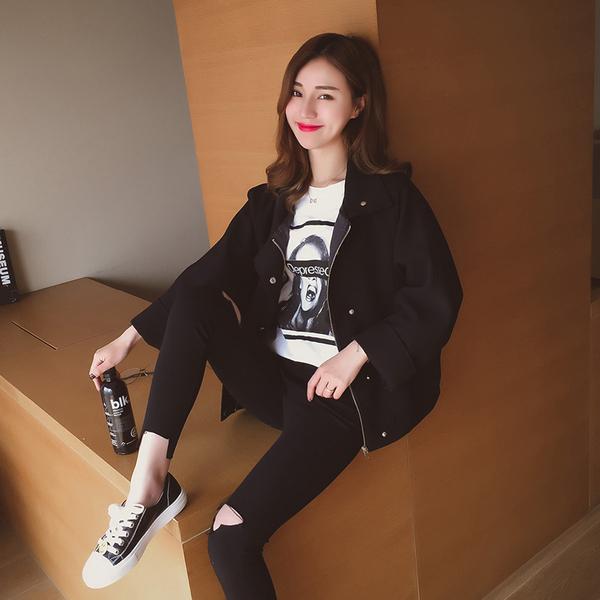 Spring new 2017 Korean fashion loose bat sleeves short jacket female solid color long-sleeved jacket casual tide