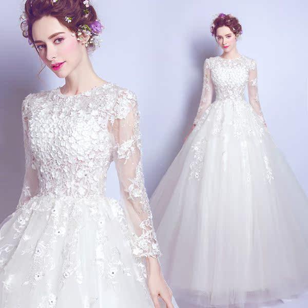 奢华蕾丝花朵公主新娘长袖齐地绑带婚纱礼服2016冬季新款2118