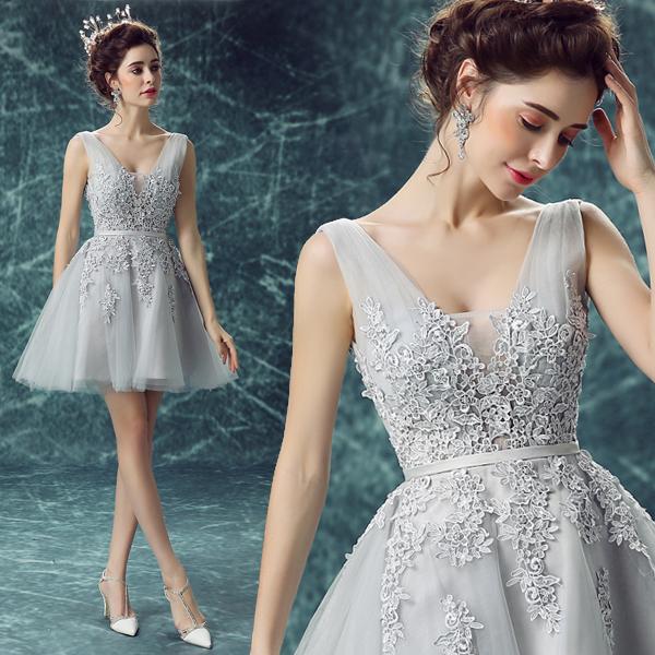灰色蕾丝深v领短款伴娘服晚宴年会演出婚纱小礼服新娘敬酒服0247
