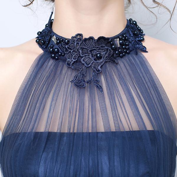 蓝色性感挂脖钉珠晚宴年会舞台演出长款婚纱礼服婚礼伴娘服3207