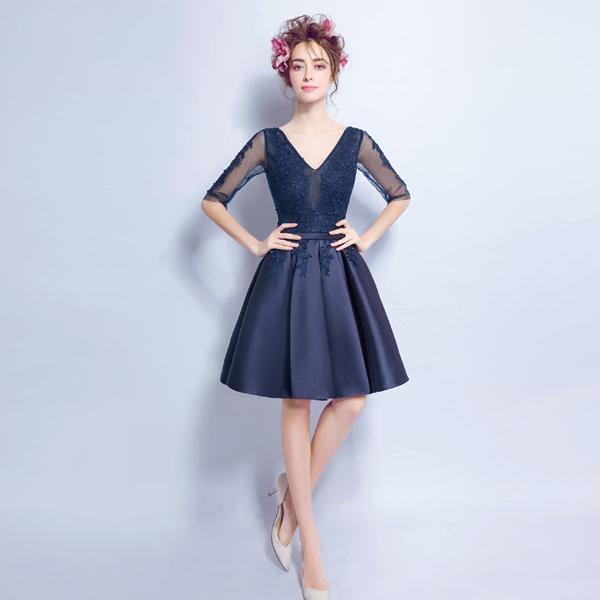 深蓝色性感蕾丝透视晚宴年会演出短款婚纱小礼服2016新款2407