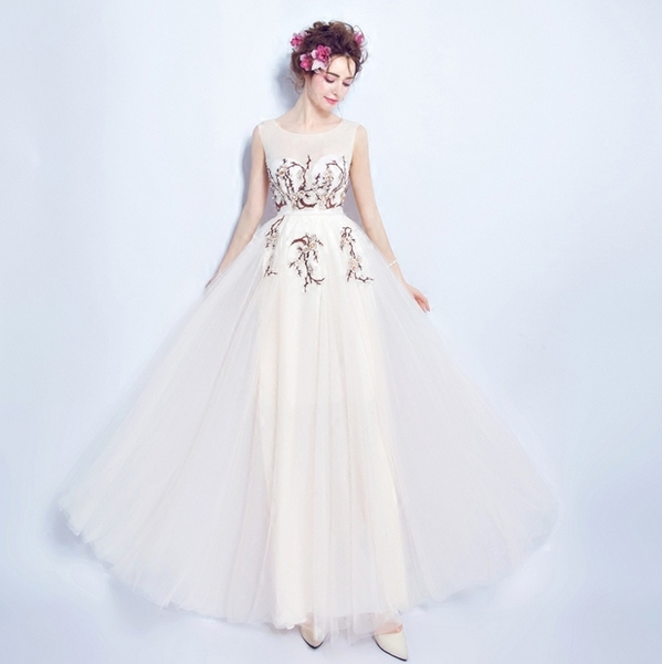 玉白色新娘结婚敬酒服晚宴年会演出主持人长款露背婚纱礼服2378