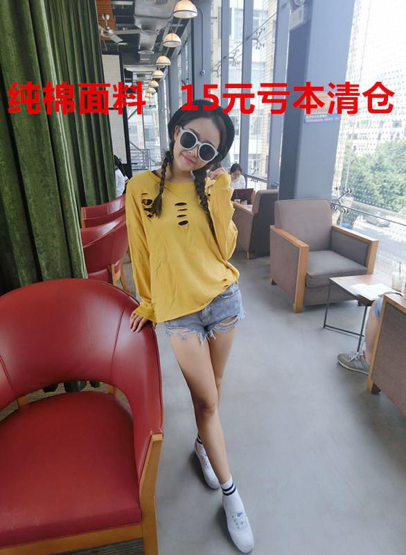 5809韩版纯色个性破洞卫衣秋季新品套头打底百搭学院风长袖卫衣女
