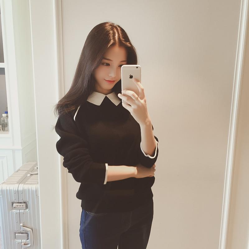 【实价】2015冬装韩国新款甜美娃娃领拼色套头针织衫毛衣女6727#