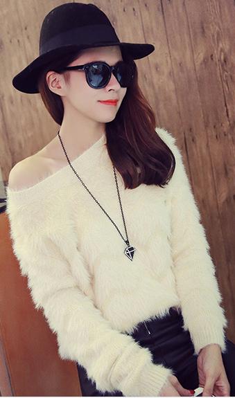 韩国时尚百搭显瘦宽松套头长袖马海毛毛衣针织衫毛衣女A637#