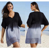 Plus Sized Ombre Summer Drawstring Dress