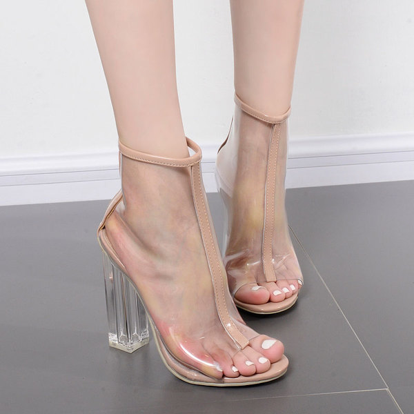 欧美时尚女鞋子 高跟鱼嘴透明PVC 拉链水晶粗跟女靴短靴祼靴大码