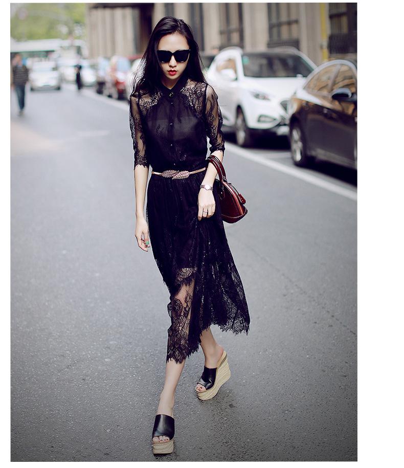2016春装新款韩版性感裙子中长款蕾丝镂空连衣裙女夏装礼服