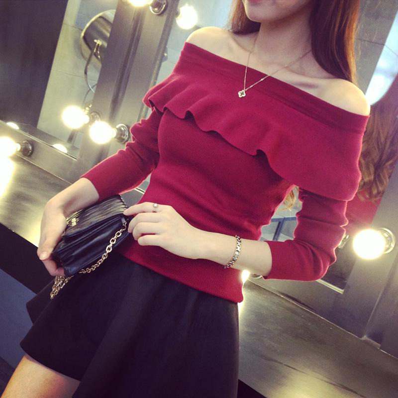 2015 韩版一字领修身荷叶边打底衫时尚百搭长袖纯色针织衫女A635#