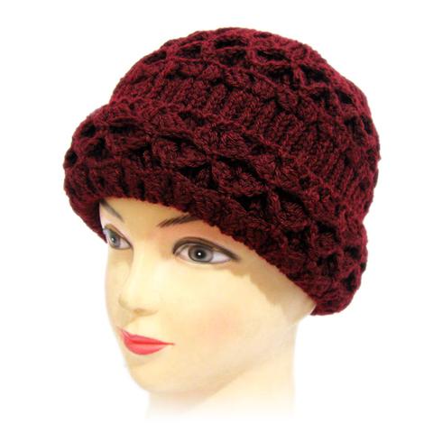 双层织花老太太毛线帽中老年女士帽子秋冬季老人帽保暖老奶奶帽女