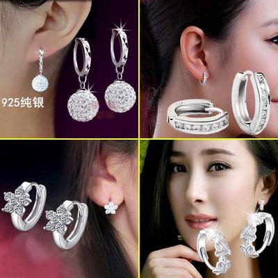 925纯银耳扣 韩国时尚单排镶钻小耳圈耳环饰品 正品女情人节礼物