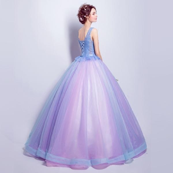 粉紫色蕾丝花朵新娘结婚敬酒服长款婚礼晚宴年会婚纱礼服6921
