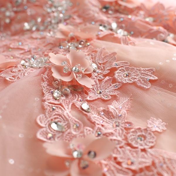 คริสตัลดอกไม้สีชมพูเซ็กซี่ลึกคอวีมุมมองเจ้าสาวแต่งงานขนมปังยาวเสื้อผ้าแต่งงาน 928