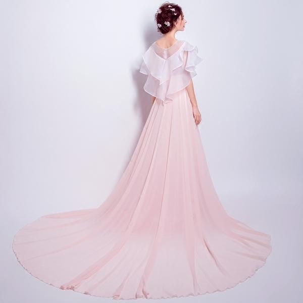 明星同款粉色新娘结婚敬酒服长款婚礼晚宴年会婚纱礼服5599