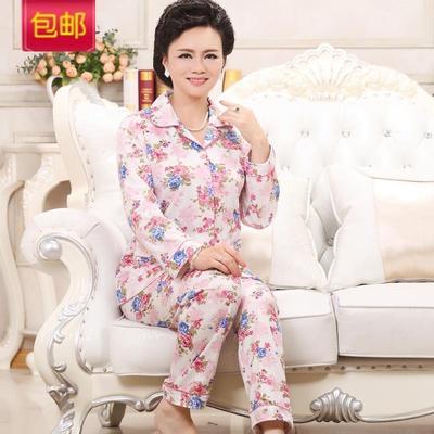 【天天特价】中老年人睡衣女长袖套装春秋款中年妈妈加大码家居服