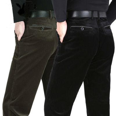 Mùa thu và mùa đông quần nhung kẻ co giãn đàn ông dày lên trung niên thẳng lỏng quần trung niên giản dị - Quần mỏng