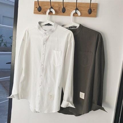 港仔文艺男 春季新款男士韩版衬衫学生白色寸衫宽松长袖打底衫潮