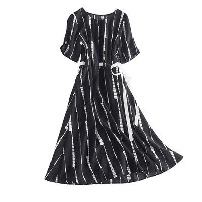 Rifugu 18 mùa xuân mới hit in màu ngắn tay Slim ren dài ăn mặc nữ L37700U Sản phẩm HOT