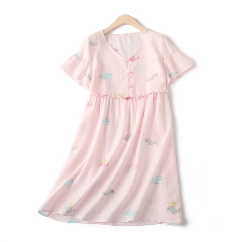 Váy ngủ cô gái mùa xuân và mùa hè mới gạc cá voi cotton Nhật Bản ngắn tay nhà dễ thương hoạt hình đồ ngủ cotton lỏng - Đêm đầm