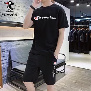 男士短袖T恤套装男装休闲运动两件套