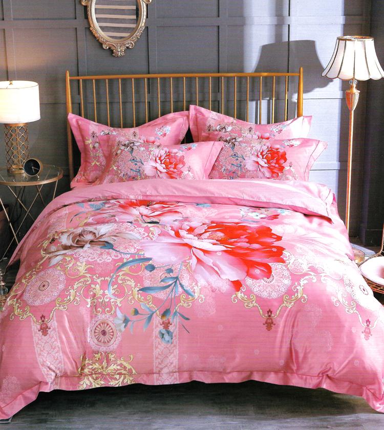 简森张家纺纯棉贡缎电脑提花牡丹红四件套大床 1.8米 2.0 床品