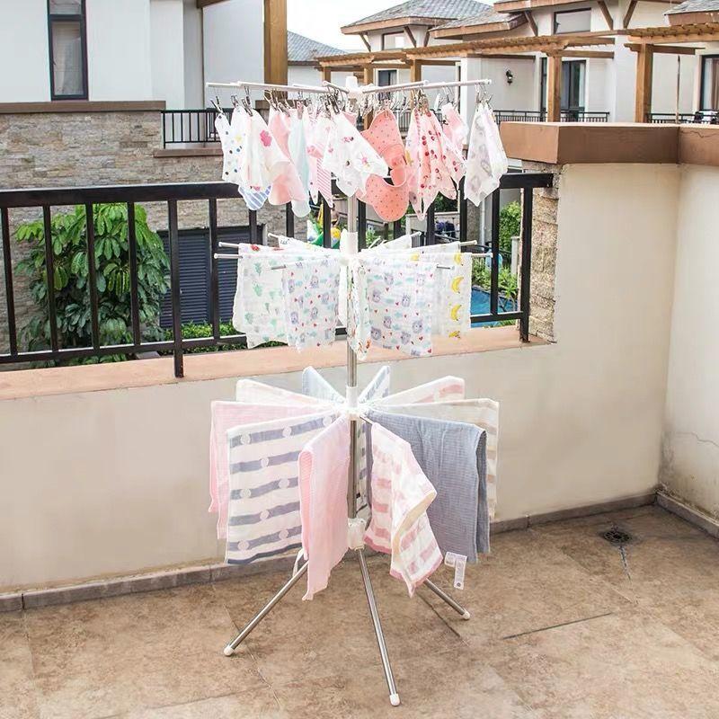婴儿不锈钢晾衣架宝宝尿布架落地折叠架儿童毛巾阳台多功能晒衣架