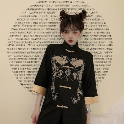 taobao agent Chinese style women's improved embroidery disc button shirt women's retro Hong Kong style design niche tops national tide jacket summer