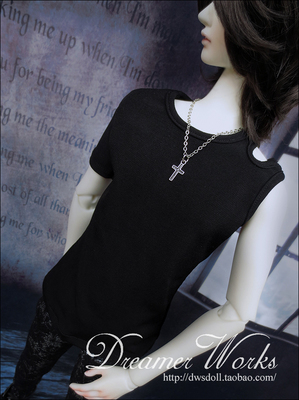 taobao agent 【DWS】SD/BJD 3 points 4 points doll clothes/baby clothes black half-sleeved T-shirt 1/4, 1/3, uncle