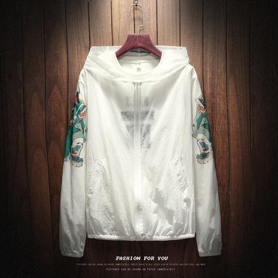 Người béo mùa hè mới Guan Chiêng in ấn áo khoác nam cộng với chất béo kích thước lớn áo giản dị kem chống nắng quần áo xu hướng Hàn Quốc
