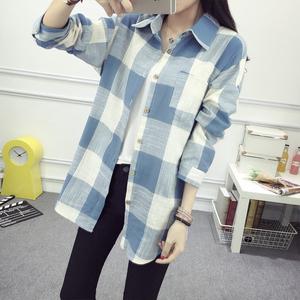 秋装新款韩版宽松格子衬衫女长袖百搭大码学生上衣外套