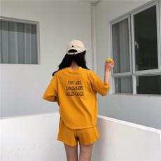 实拍实价 4标齐 韩国夏新款百搭宽松字母上衣+高腰百搭短裤