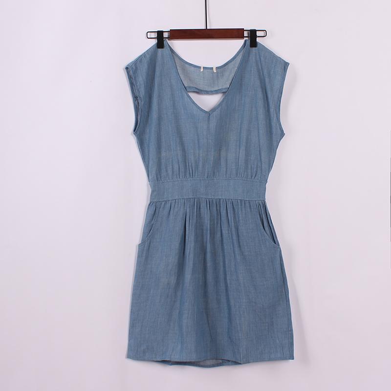 Cao đẳng gió bông bat tay áo cao bồi váy mùa hè mới lỏng phần mỏng eo là mỏng thời trang váy