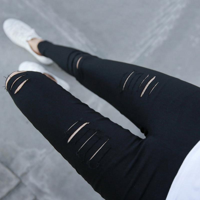 破洞小脚裤打底裤2018春夏中高腰弹性割破百搭紧身外穿薄款铅笔裤