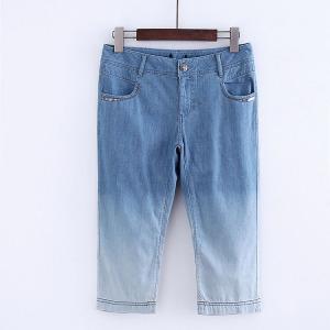 Thời trang Châu Âu và Hoa Kỳ gió tie nhuộm gradient jeans mùa hè mới cắt quần quần quần cao eo quần âu