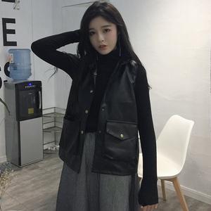 Mùa thu Hàn Quốc phiên bản của mỏng giảm béo hoang dã mỏng PU da của phụ nữ xe máy vest nhỏ đứng cổ áo không tay áo khoác sinh viên