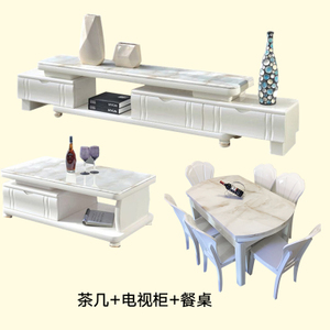 Jane đá cẩm thạch Châu Âu bàn cà phê kết hợp tủ TV telescopic gấp bàn ăn ghế hiện đại nhỏ gọn đồ nội thất phòng khách