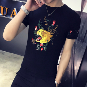 已質檢 2018春夏款男印花短袖T恤 A014-531 黑色1