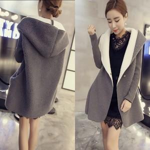 S6 韩版女装百搭宽松毛线拼接袖羊羔毛连帽外套中长款保暖大衣