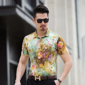 2018年 大码 花衬衫衫弹力丝光棉衬衣短袖 9码 3709P50 模特图