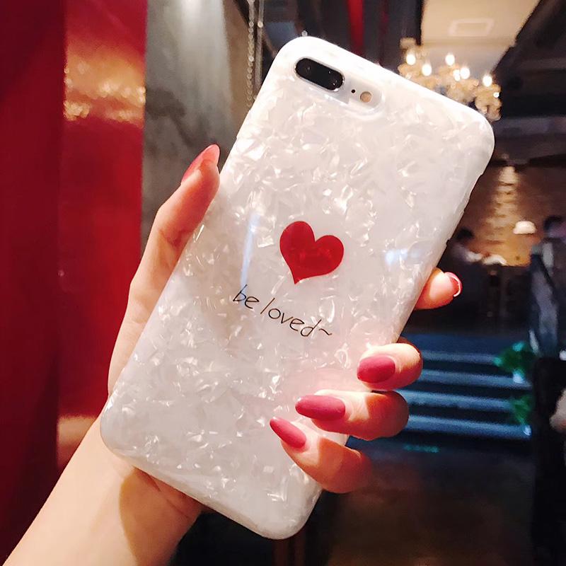 日韩简约爱心贝壳纹iphoneX手机壳苹果7plus/8/6s全包软壳套潮女