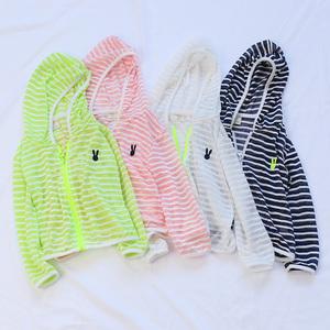 Trẻ em sọc mỏng quần áo chống nắng trai dài tay áo dây kéo áo khoác bé quần áo da beachwear điều hòa không khí muỗi net