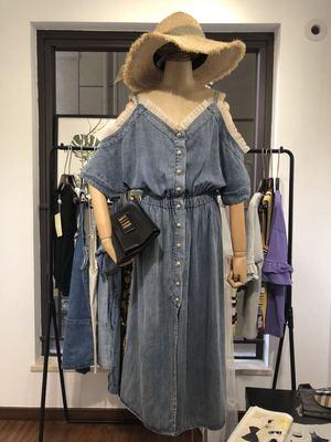 SEVE Yi Rong Quốc Tế 6720 Lưới Strapless Tắt Vai Đàn Hồi Eo Đơn Ngực Mỏng Tencel Denim Dress