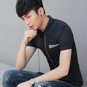 夏季男士短袖襯衫韓版修身 青少年襯衣男薄款白色休閑純色寸衫019