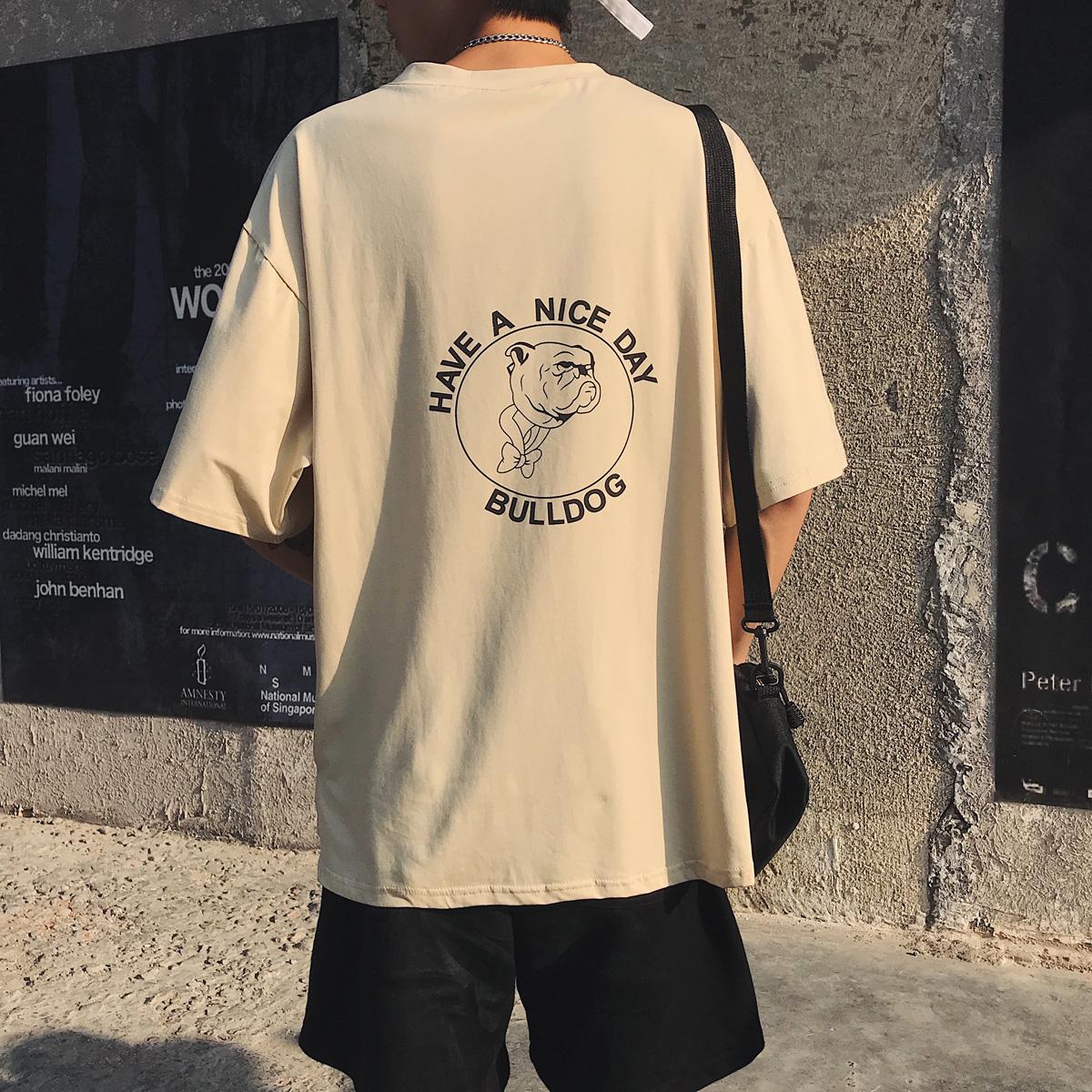 2018夏装港风小狗印花男士宽松圆领短袖T恤韩版潮体恤衫-TX37-P35