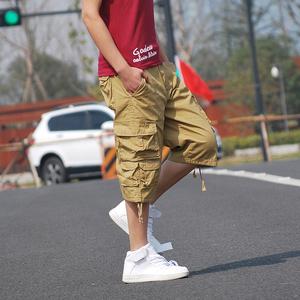 18夏新款潮男红色休闲裤短裤多口袋工装裤七分裤大码613-P45