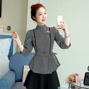 实拍2018春季新款韩版修身显瘦条纹系带收腰灯笼袖女七分袖衬衣潮