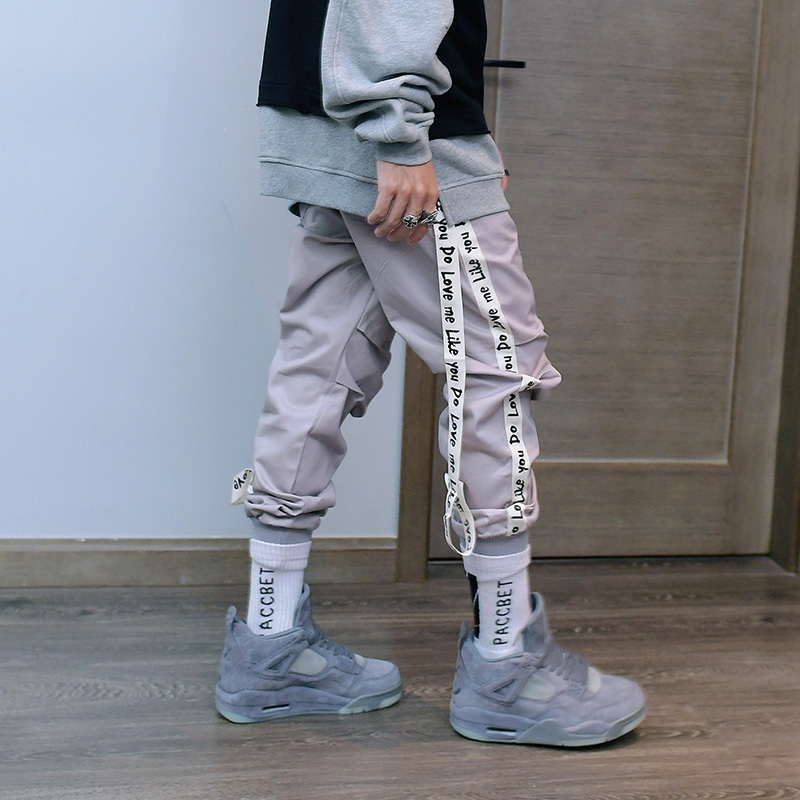 2018春夏嘻哈美式潮牌街头个性可拆飘带字母休闲长裤 U1095 P70